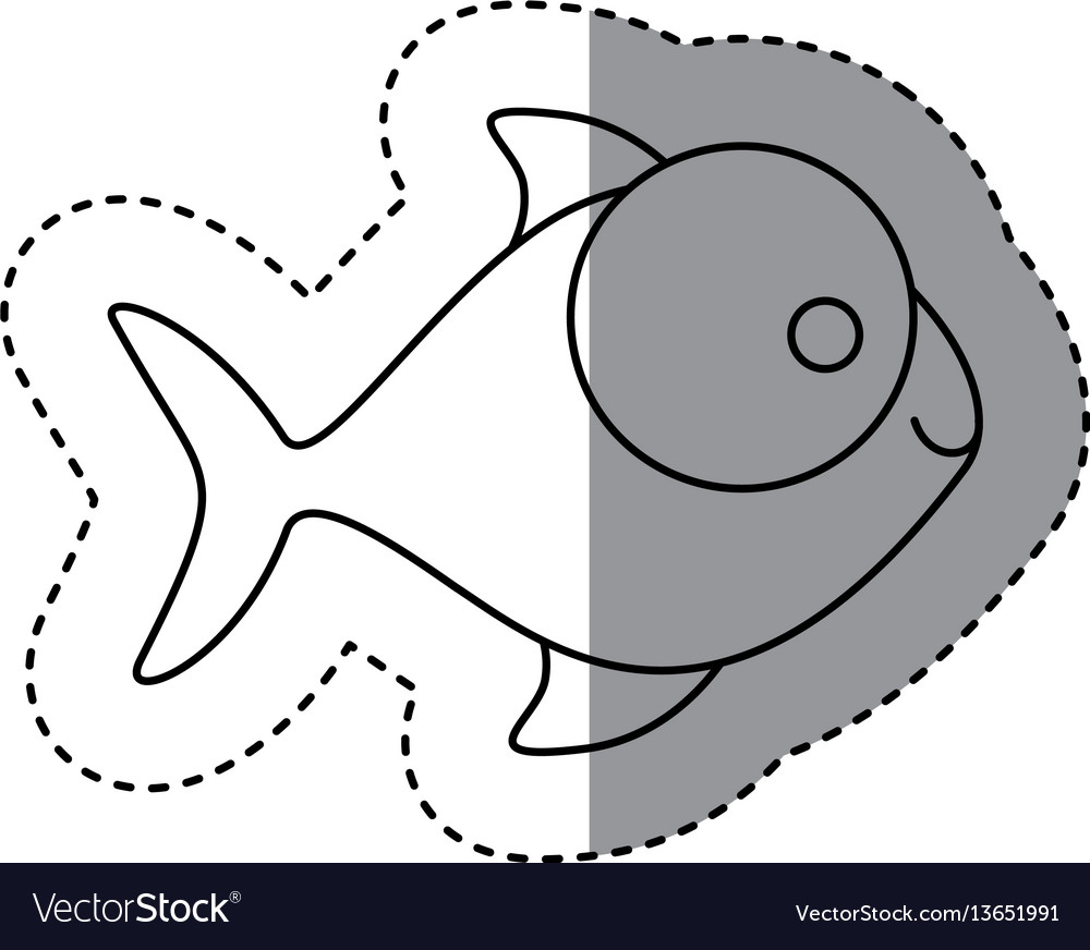 Silhouette fish with big eyes icon vector image
