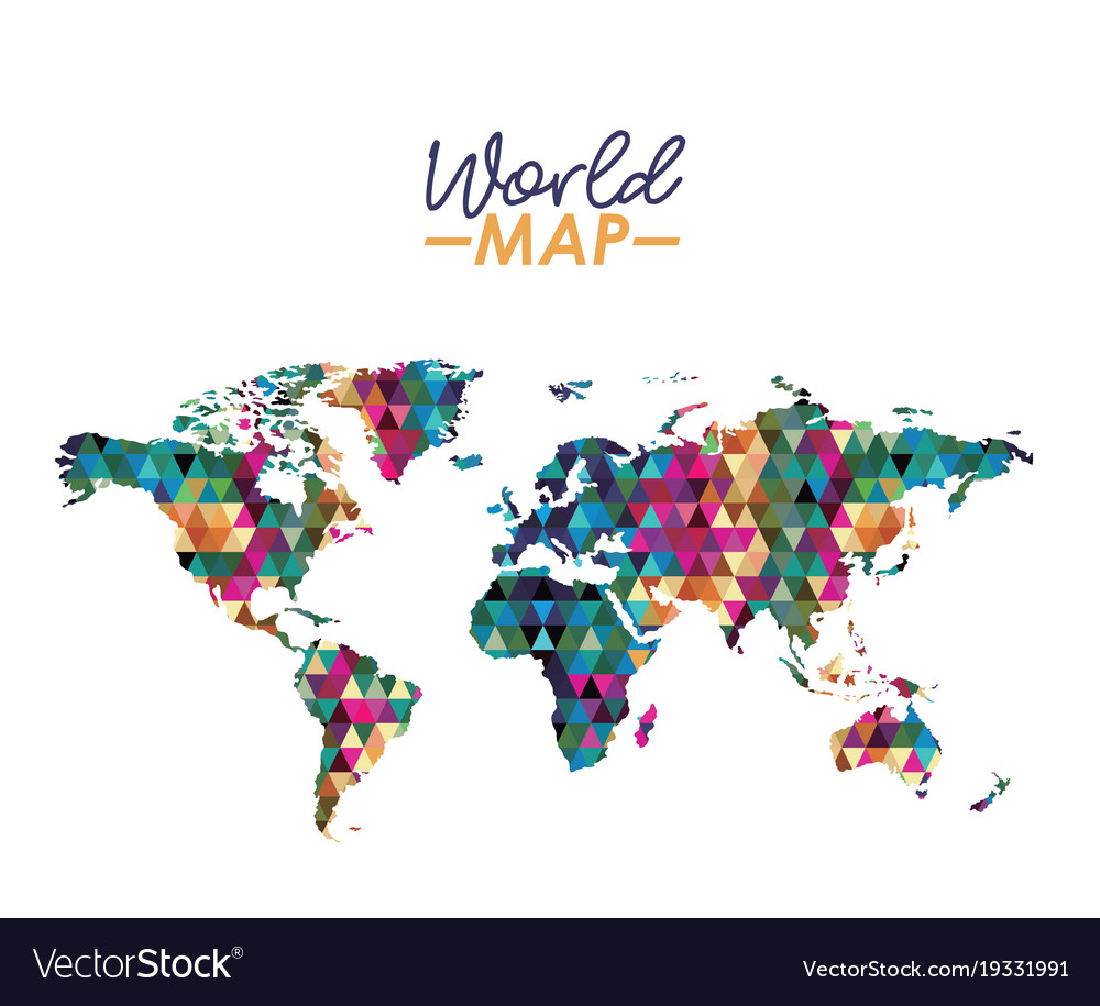 World map in geometrical colorful shape silhouette world map in geometrical colorful shape silhouette vector image gumiabroncs Image collections