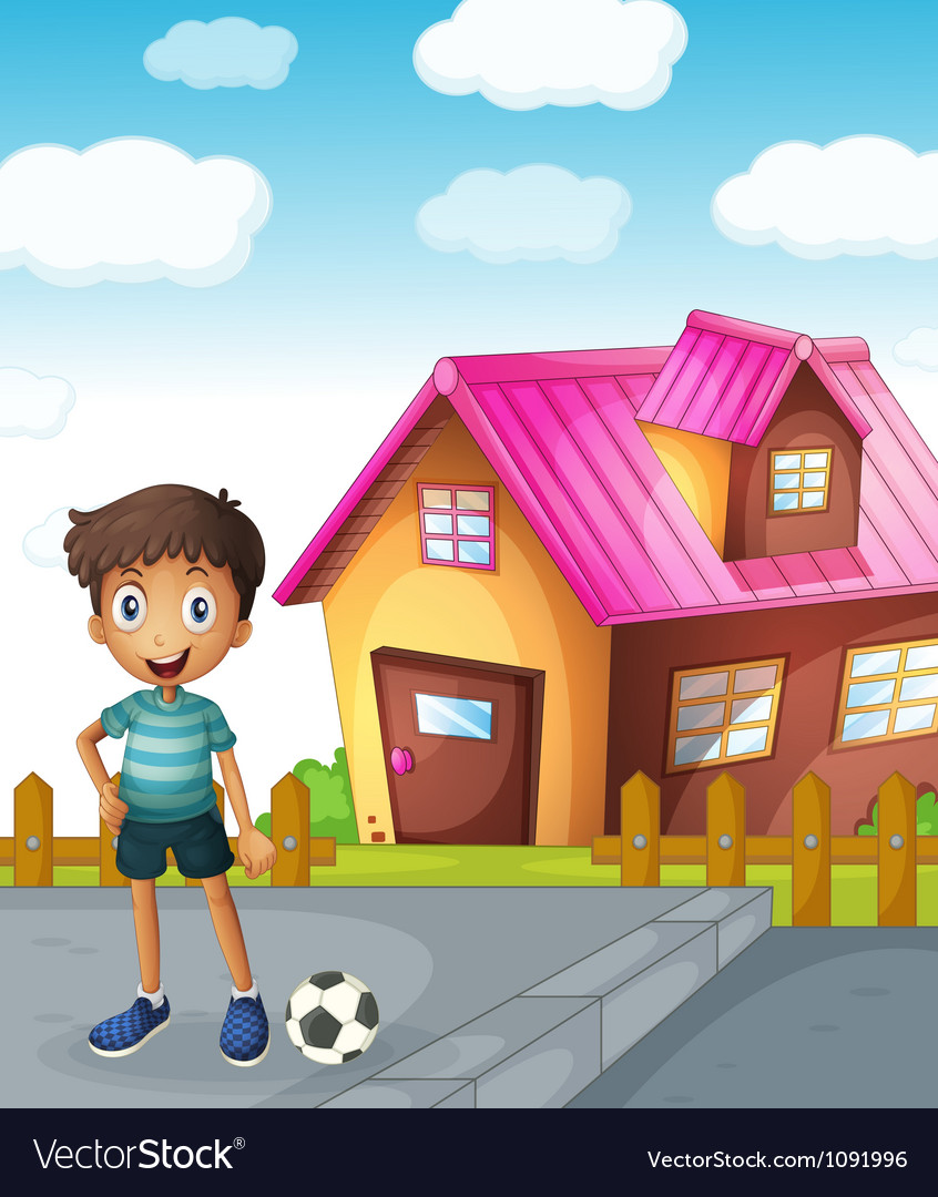 A boy football and house vector image