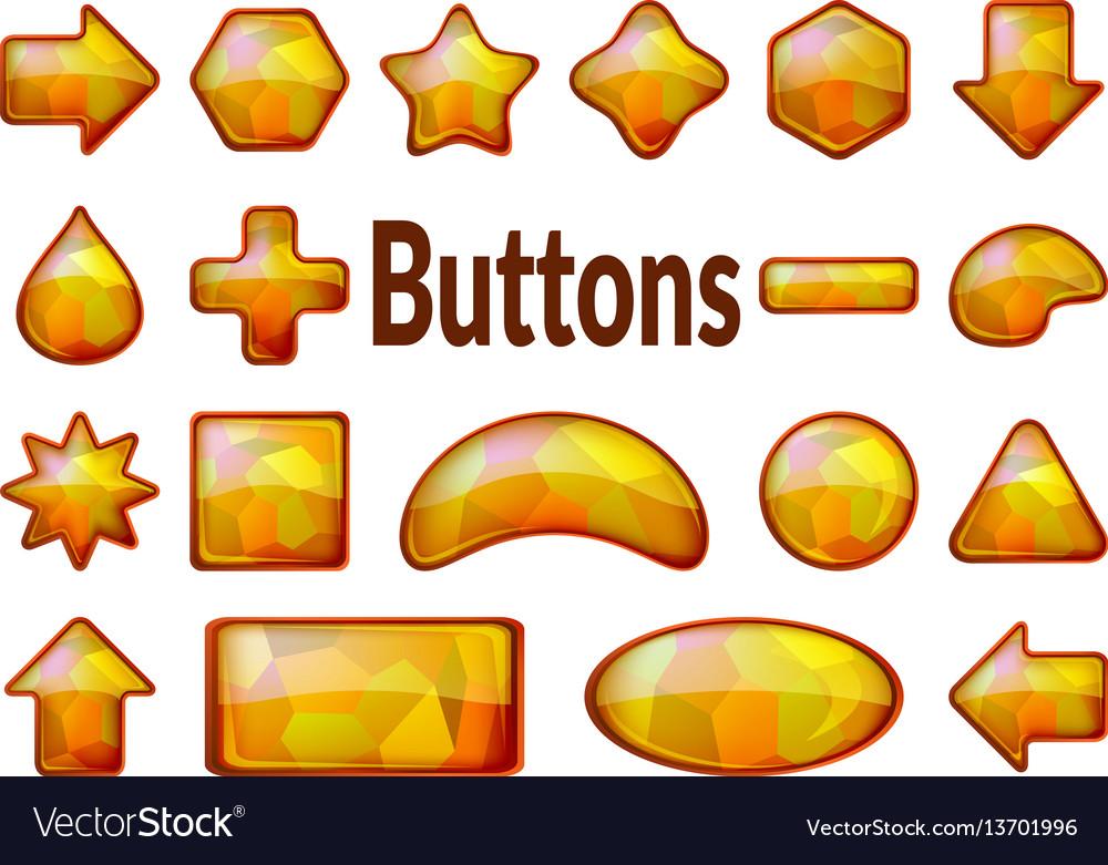 Golden glass buttons set
