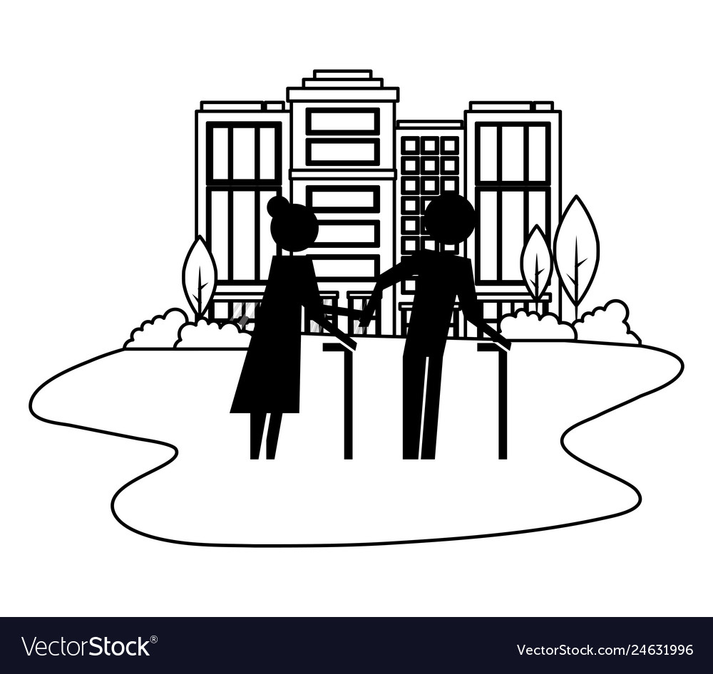 Grandparents couple in cityscape avatars