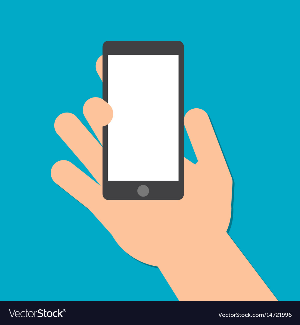 Hand holds a smart phone in the vertical position