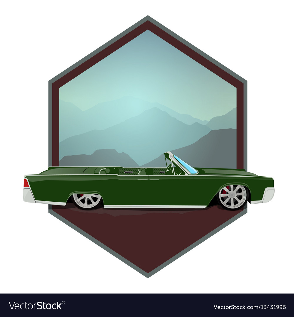 Retro gangster car car icons in flat classic