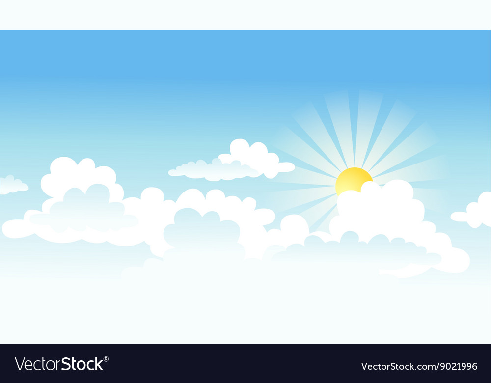 цой рисунок небо с облаками и солнцем создаёт