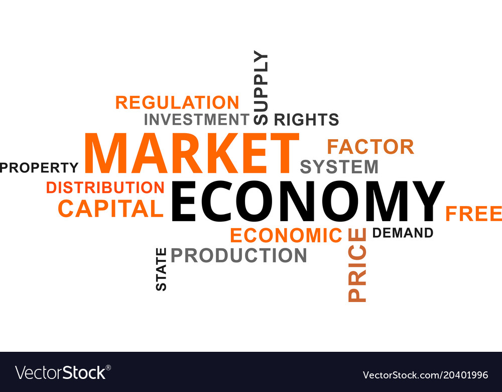 word cloud market economy royalty free vector image