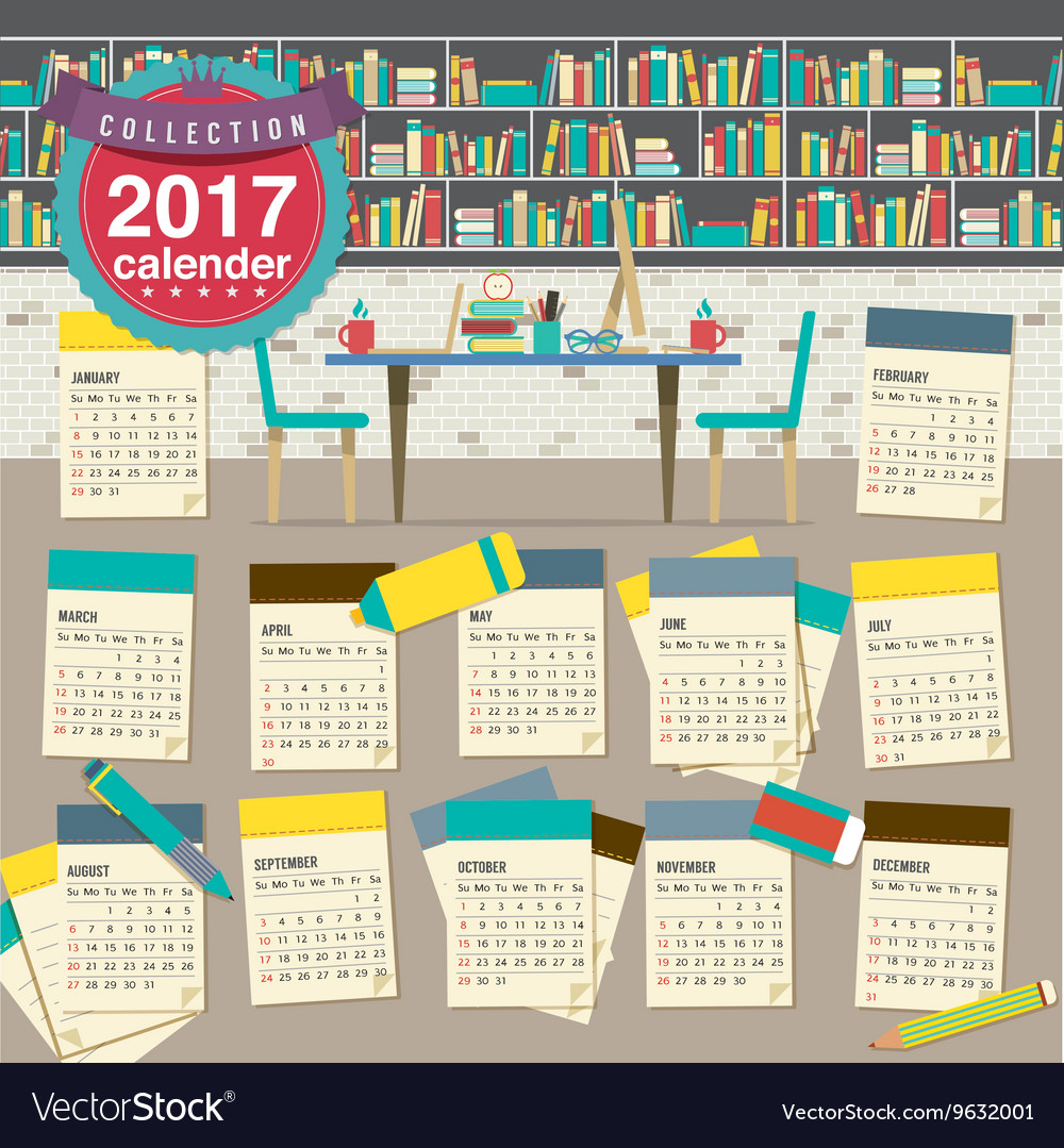2017 Calendar Starts Sunday Education Concept