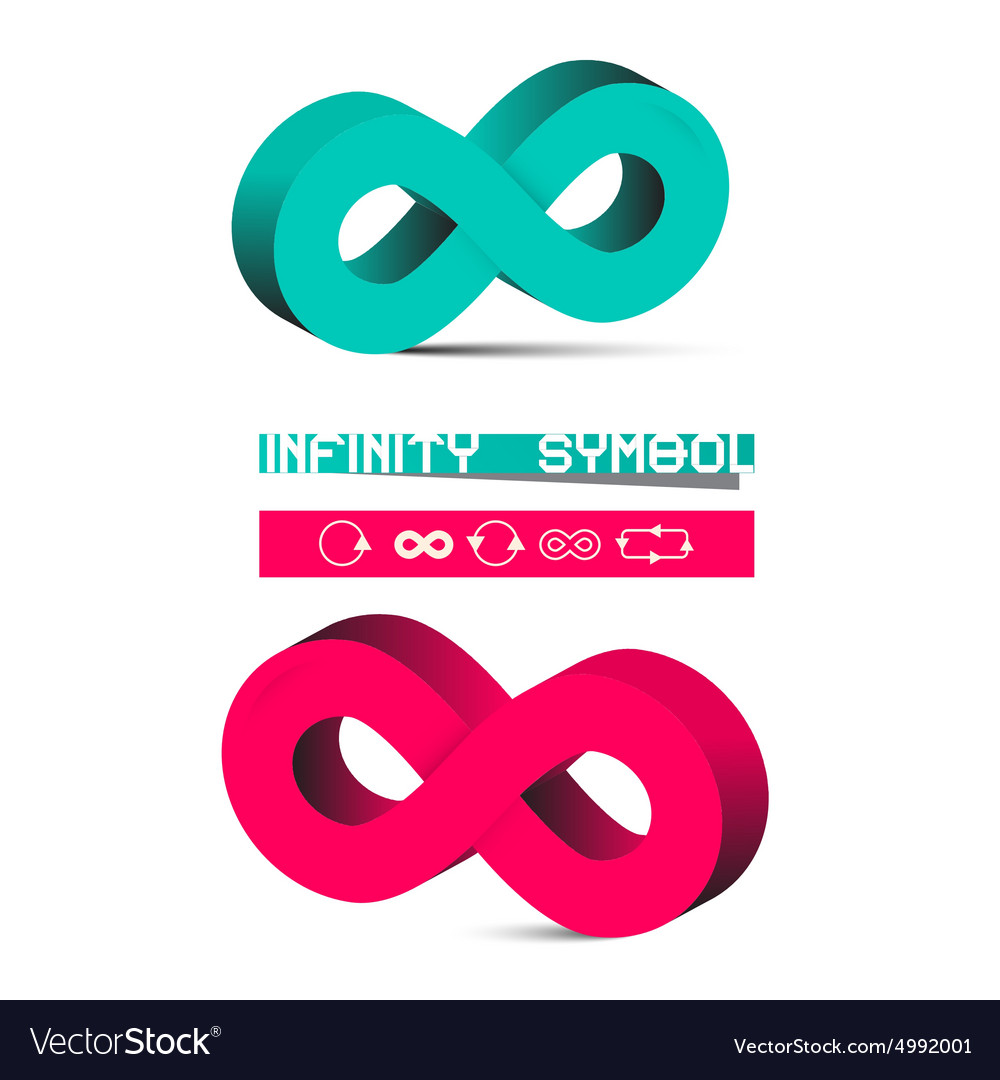 3D Infinity Symbols Set Isolated on White