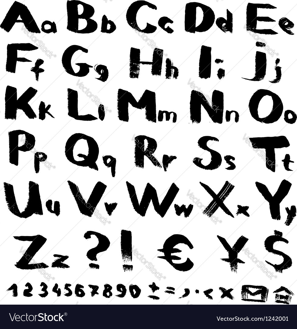 Alphabet and symbols from black brush strokes vector image