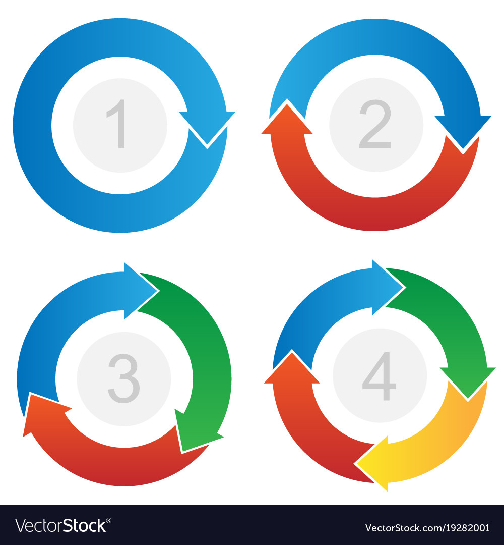 Curved process flow arrows info-graphic