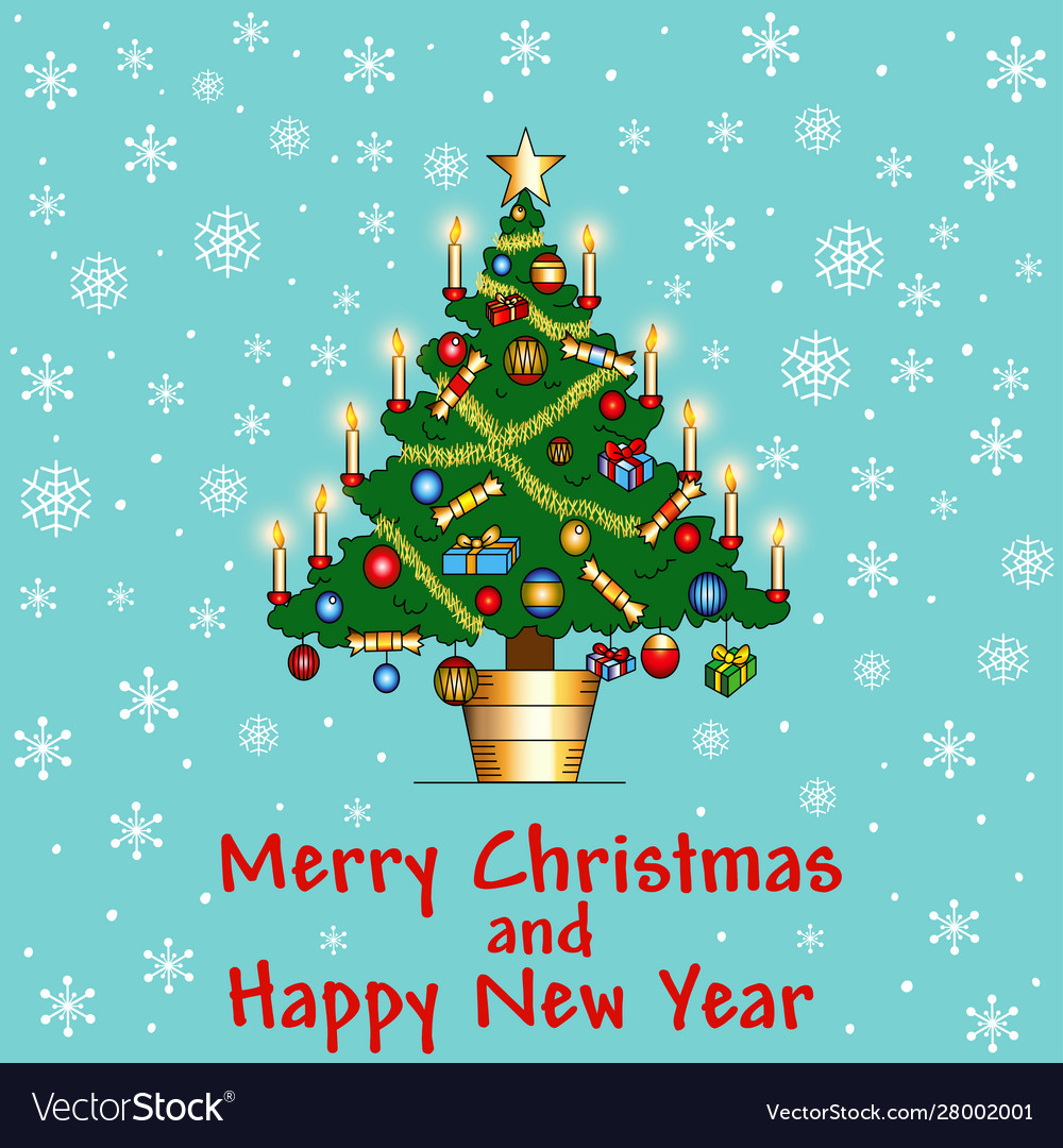 Delicate background card with christmas tree with