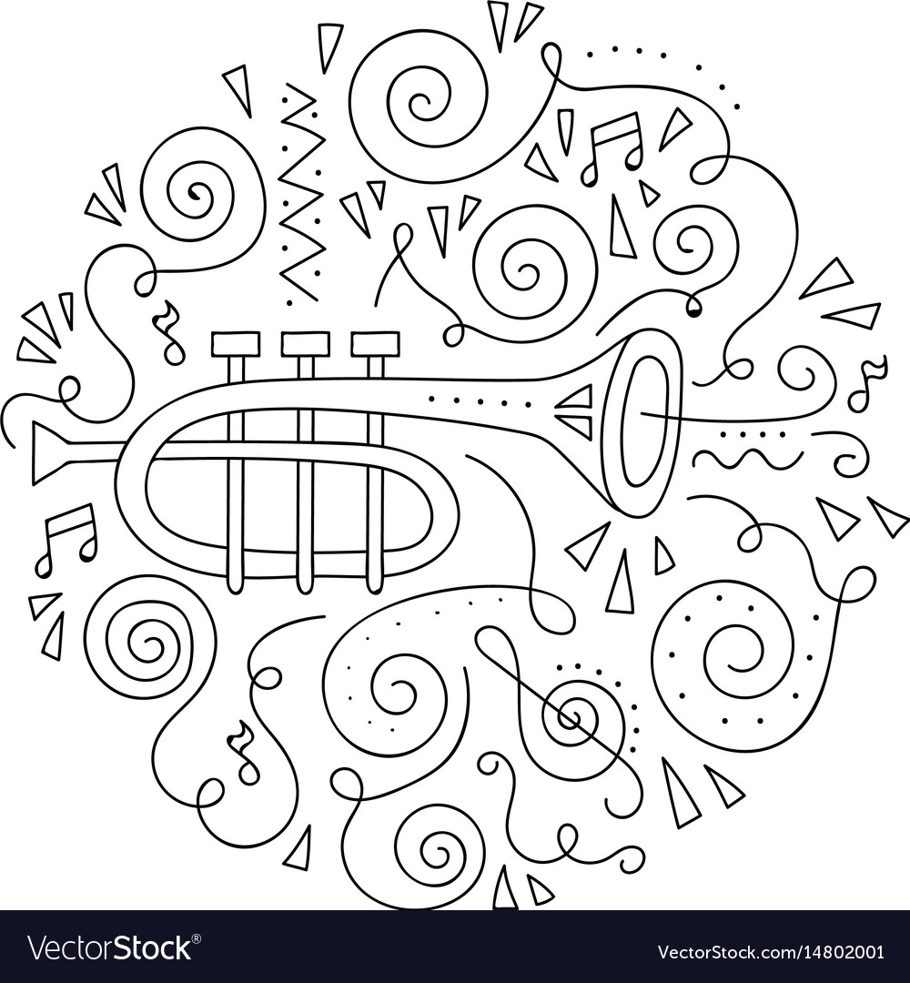 Doodle Trumpet Coloring Page Royalty Free Vector Image