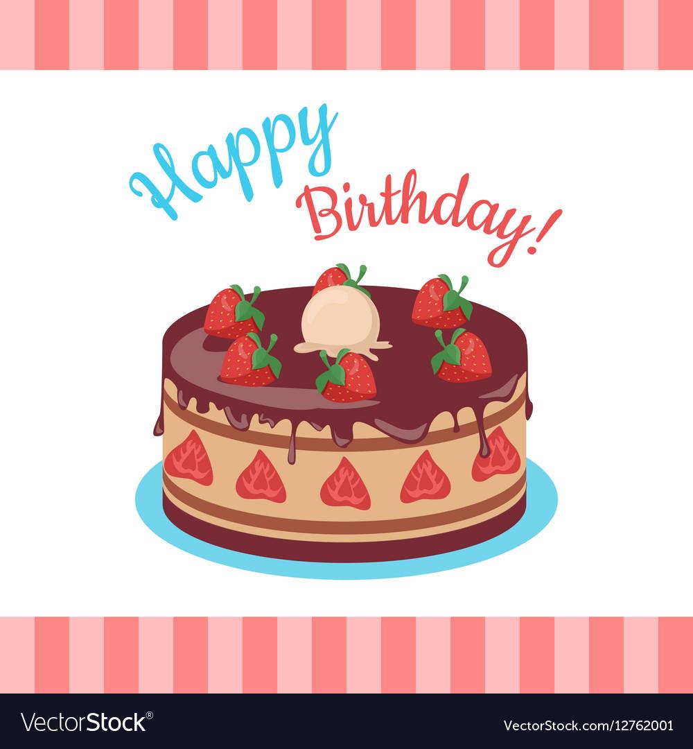 Stupendous Happy Birthday Cake With Strawberries Isolated Vector Image Funny Birthday Cards Online Necthendildamsfinfo