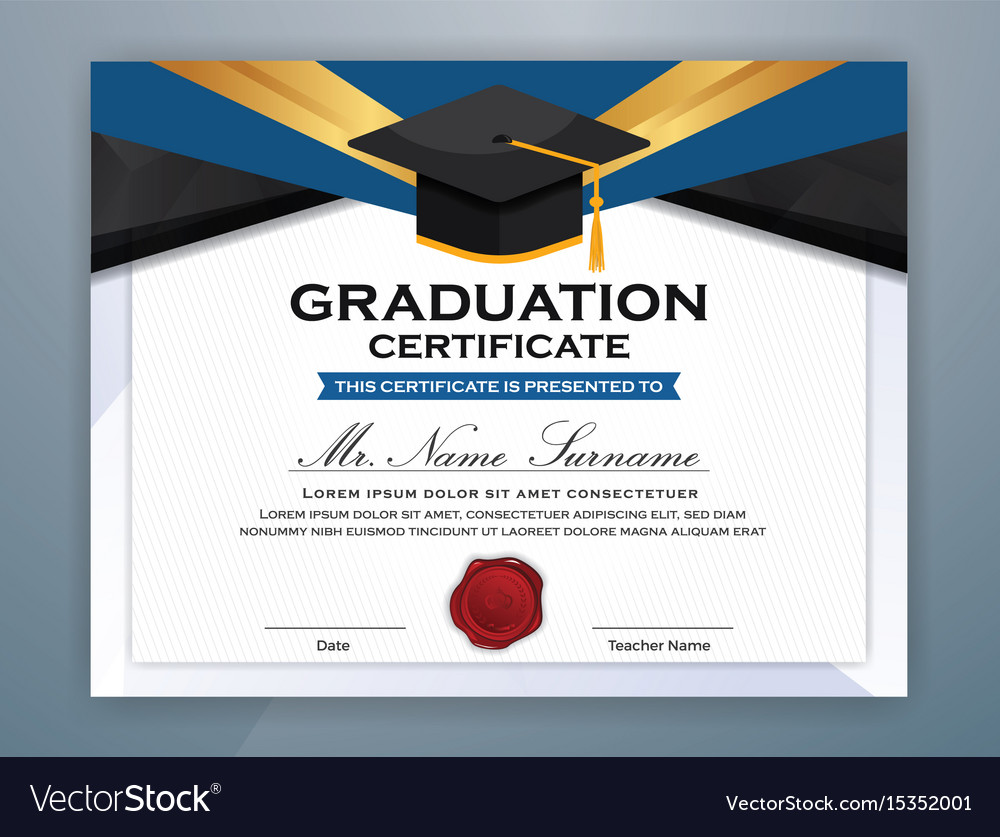 High School Diploma Certificate Template Design Vector Image