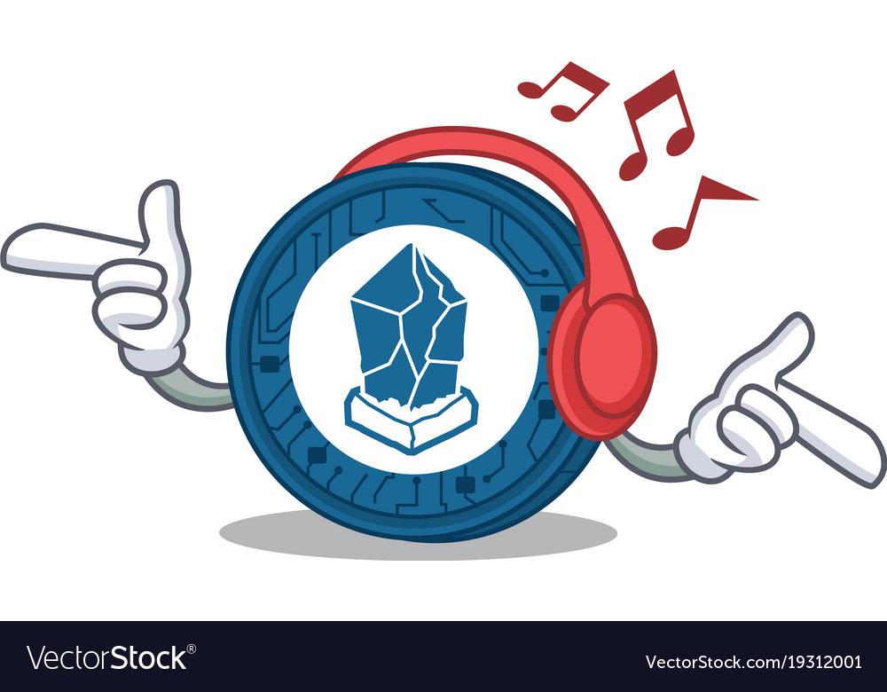Listening Music Lisk Coin Character Cartoon Vector Image