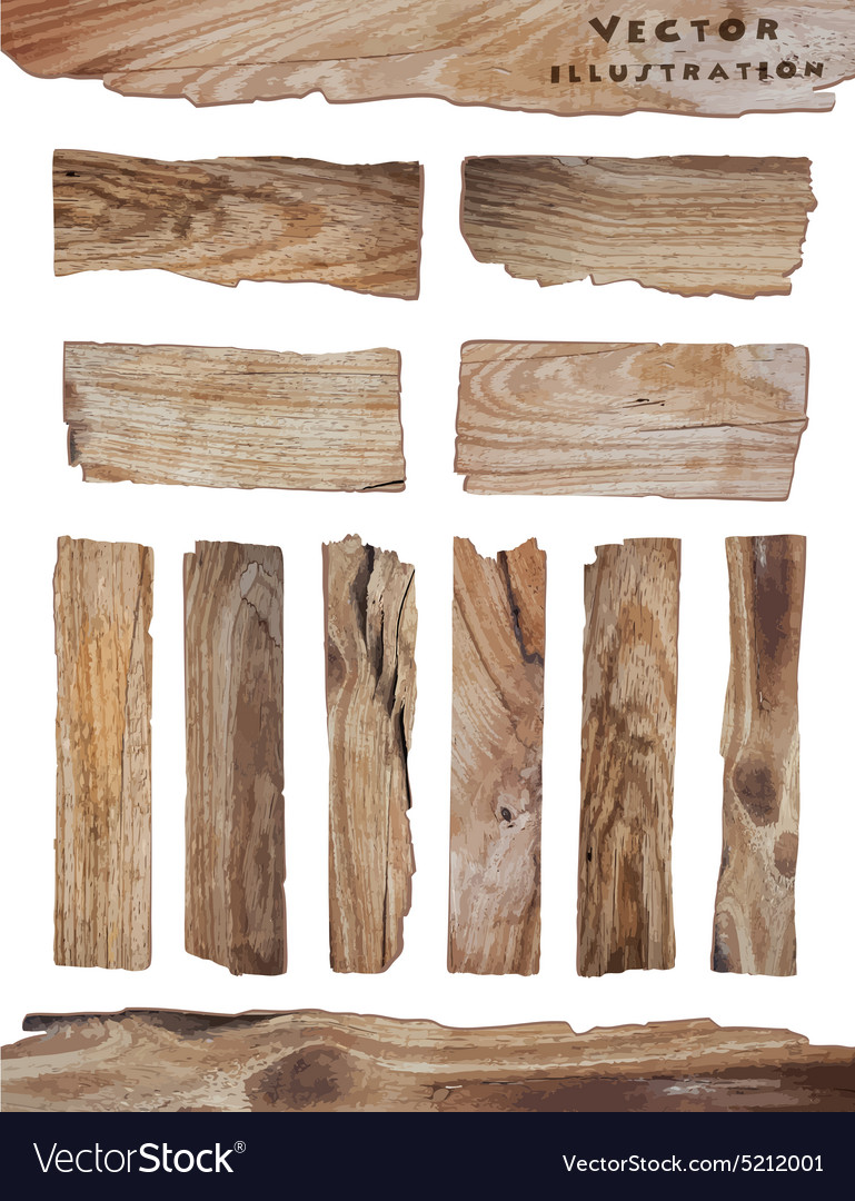 Old Wood plank isolated on white vector image