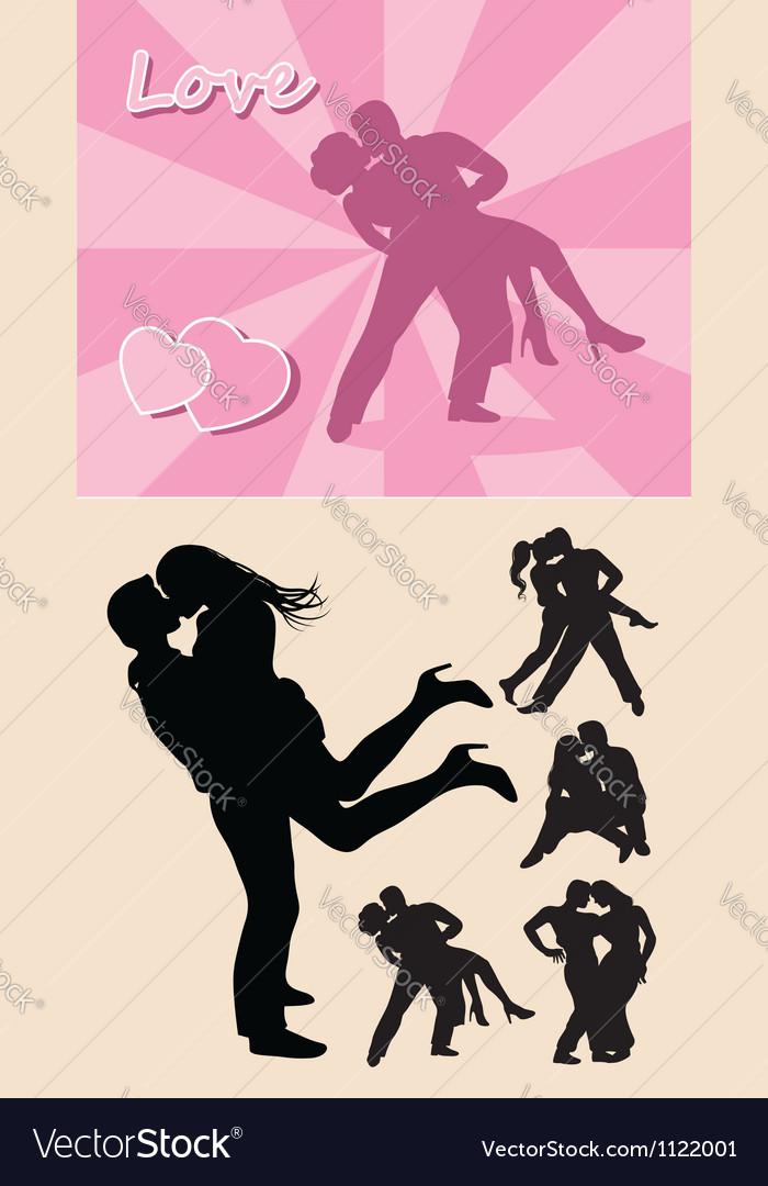 Romantic love couple silhouette 1 vector image