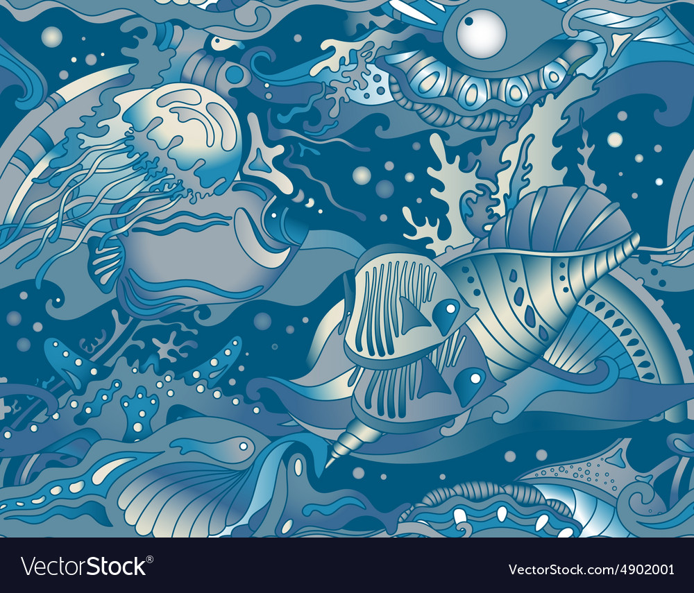 Seamless sea pattern with tropical fishes stars