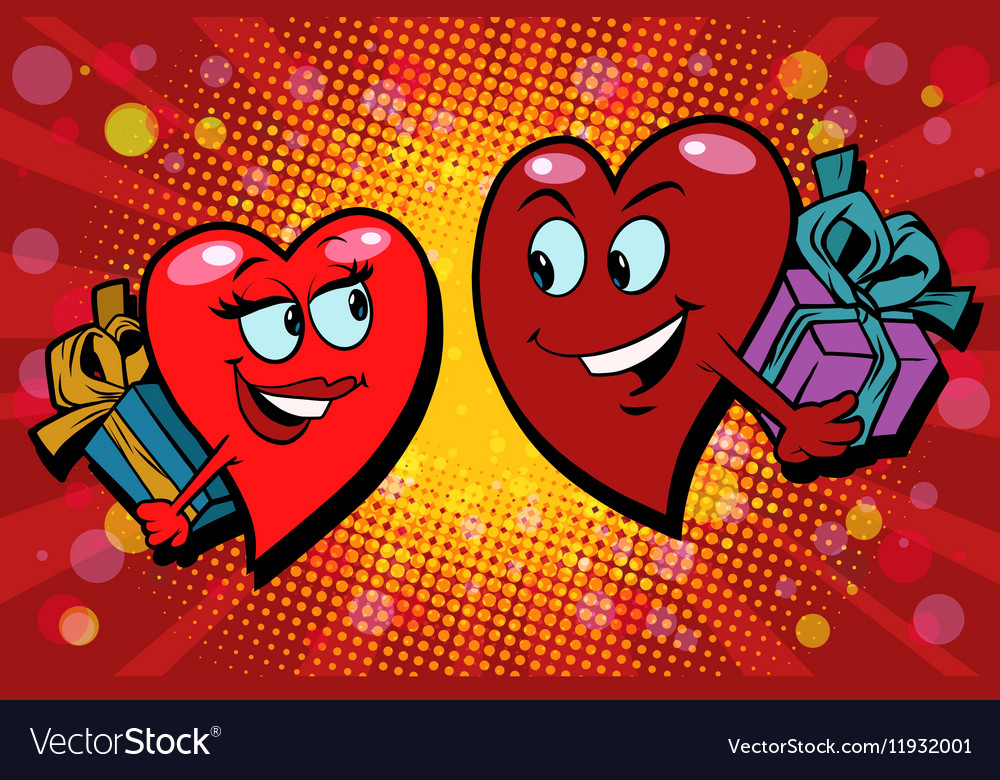 Surprise gifts Valentine heart vector image