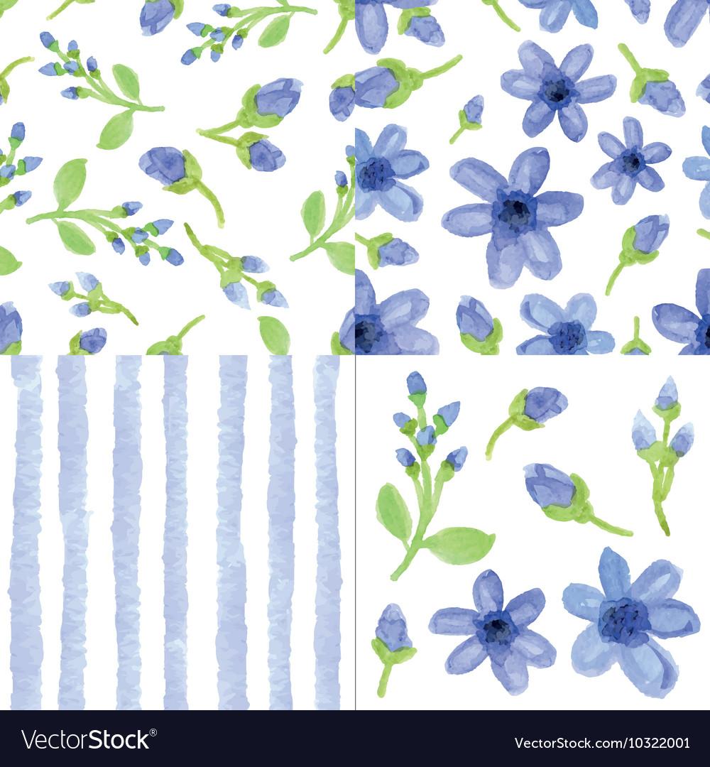 Watercolor blue flowersstrips seamless pattern