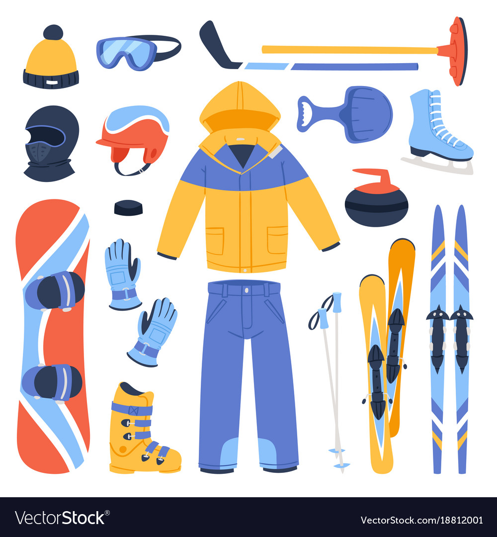 Winter sport and clothes icons snow ski