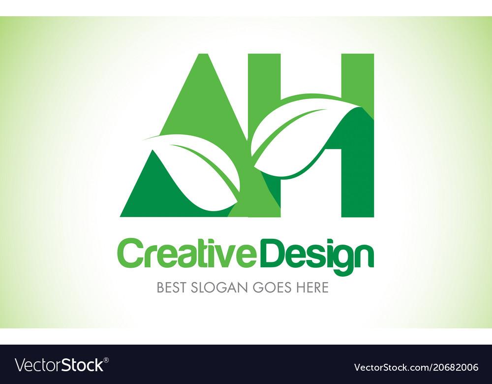 Ah green leaf letter design logo eco bio leaf