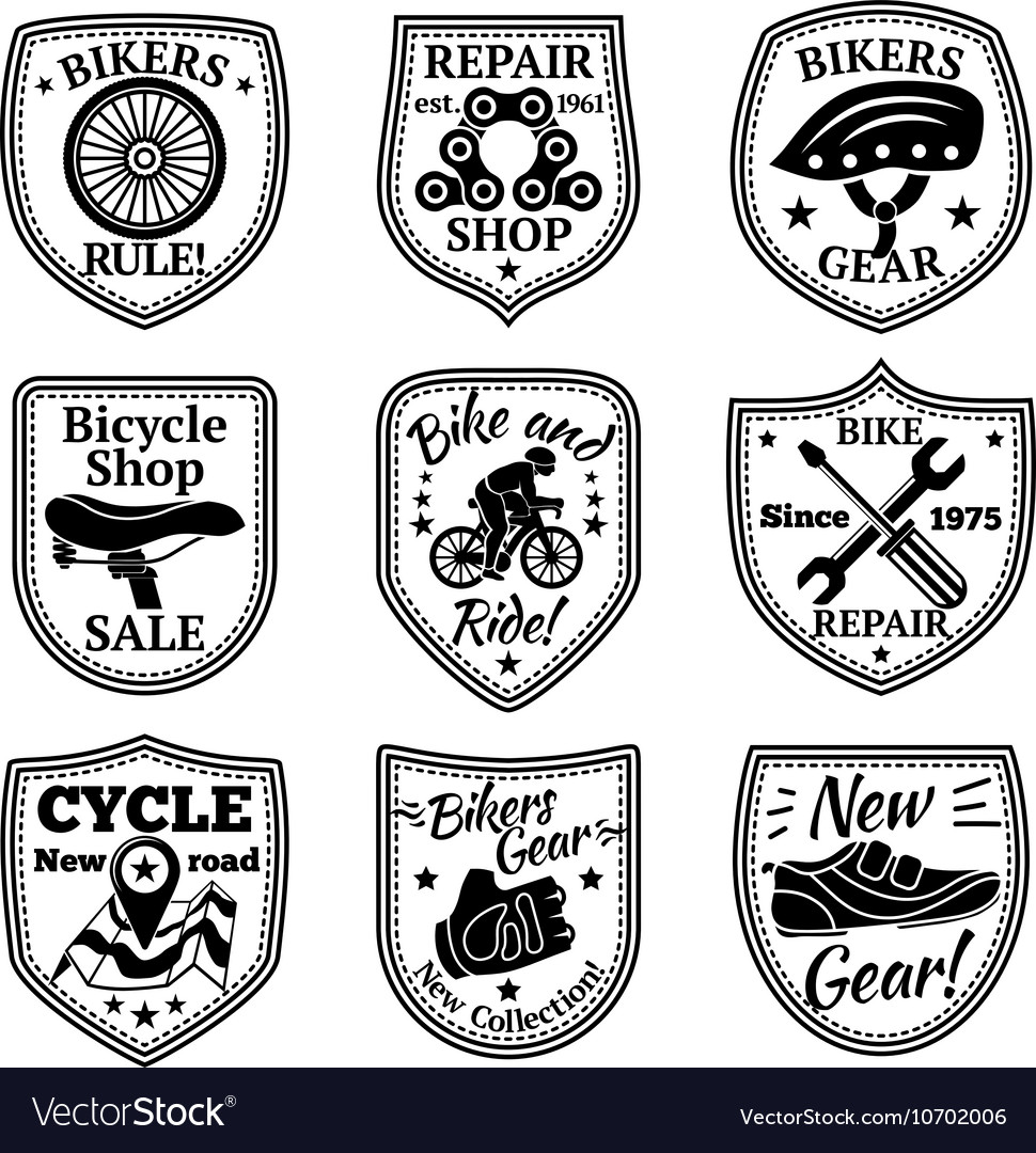 Bicycle badges set With chain wheel