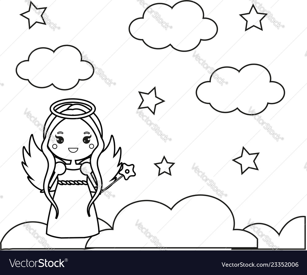 Coloring page with cute angel on clouds drawing Vector Image