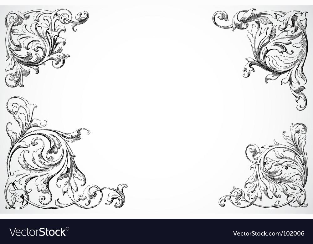 Floral swirl corners
