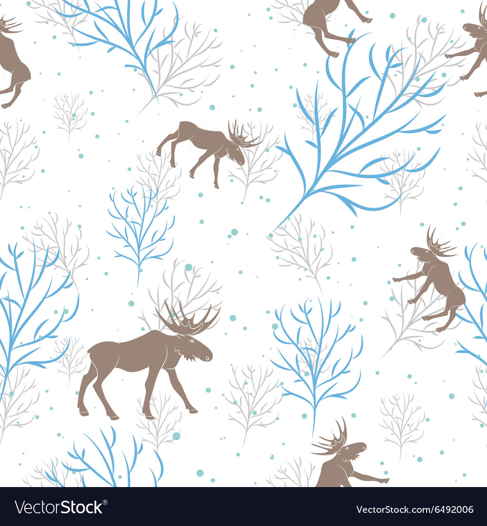 Forest deer and tree branch seamless pattern