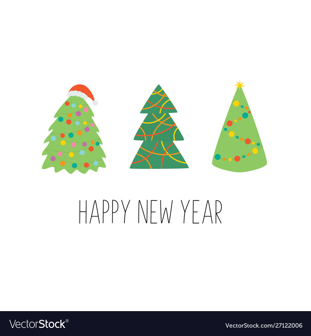 Happy new year greeting card with christmas trees