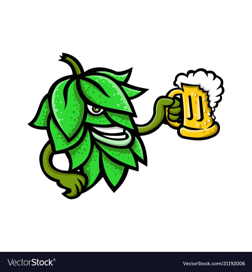 Hops drinking beer mascot