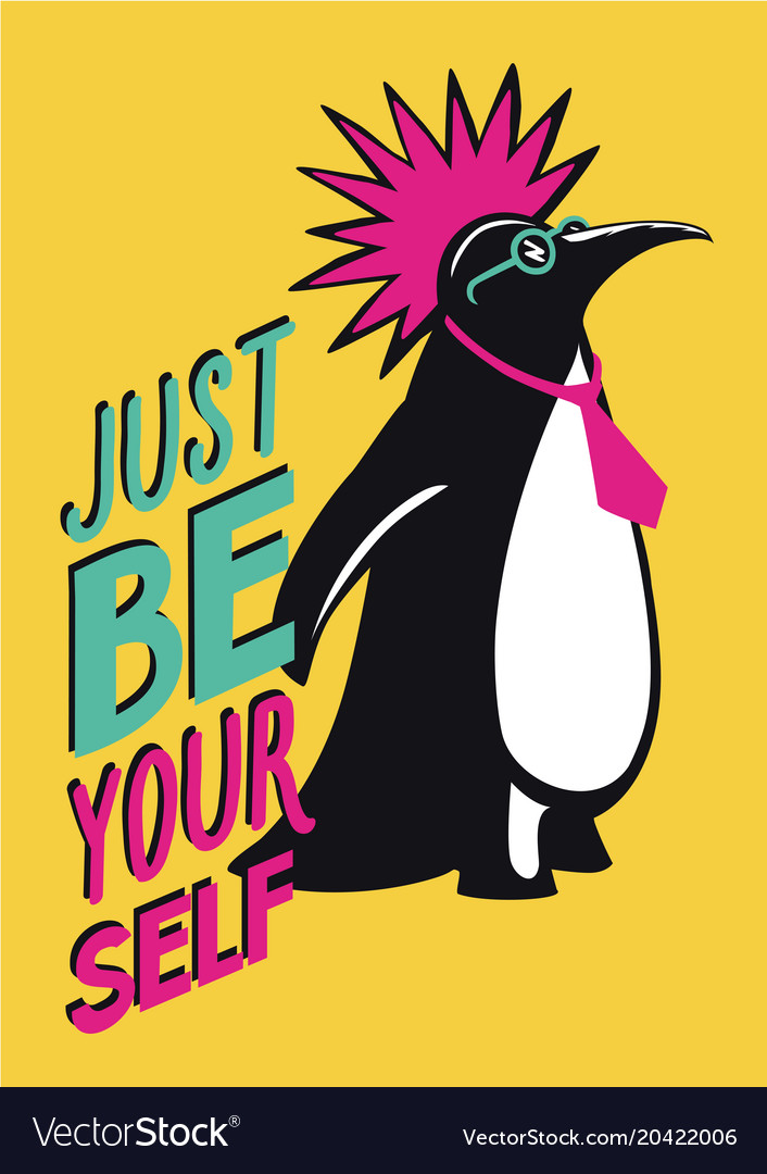 Pop art poster with penguin punk humorous