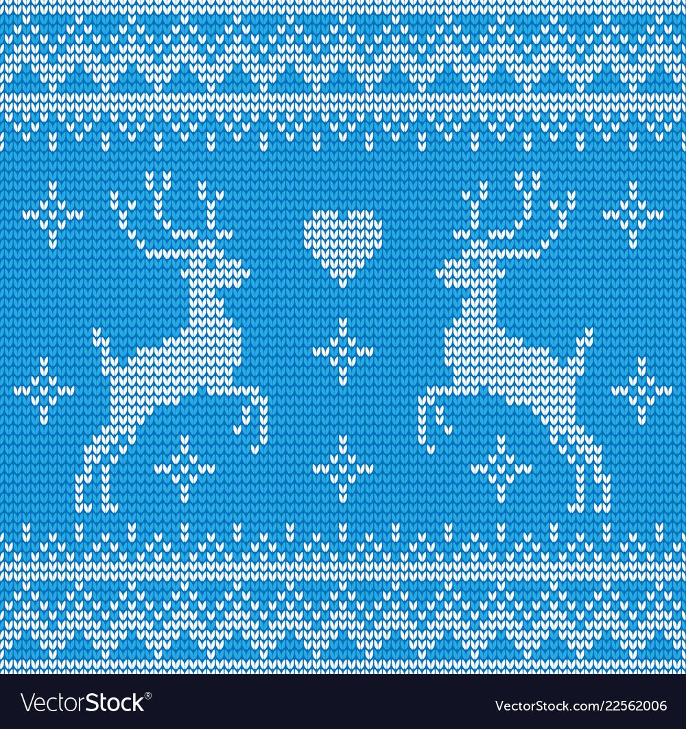 Seamless deer knitting background