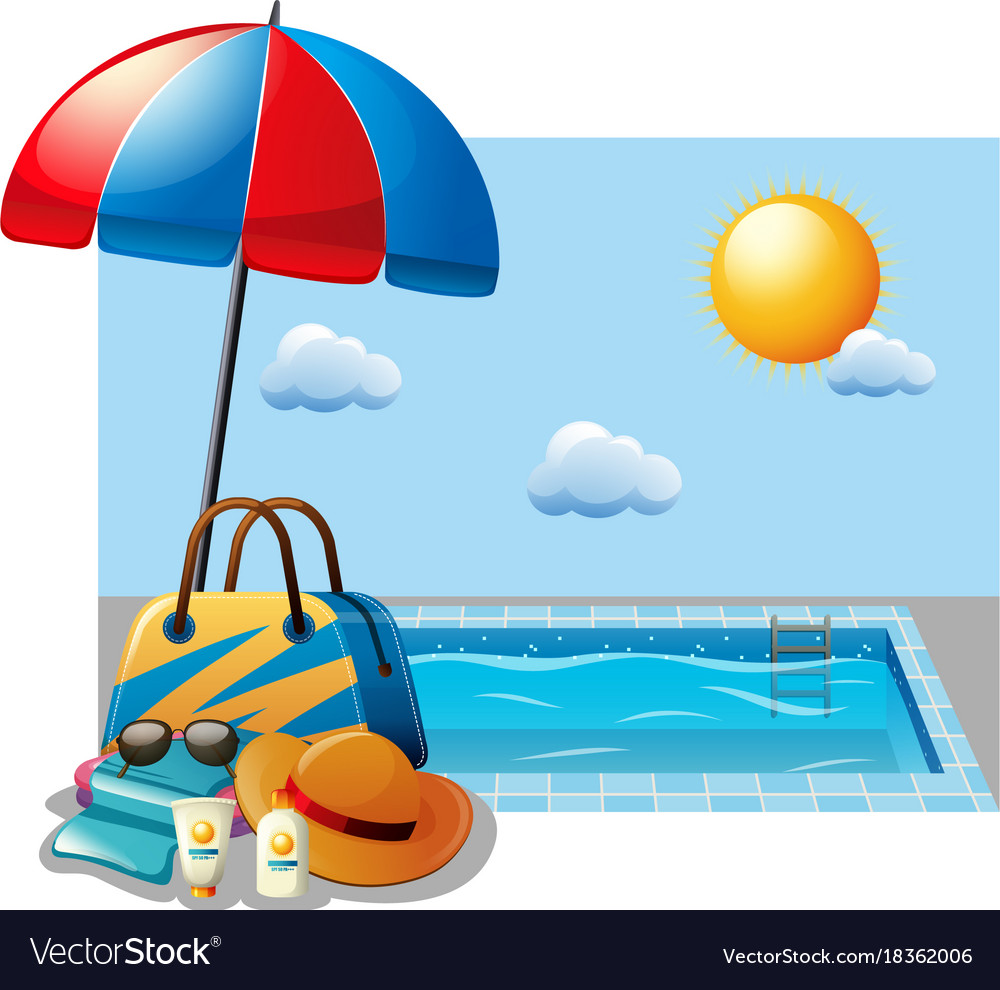 Summer scene with swimming pool and umbrella