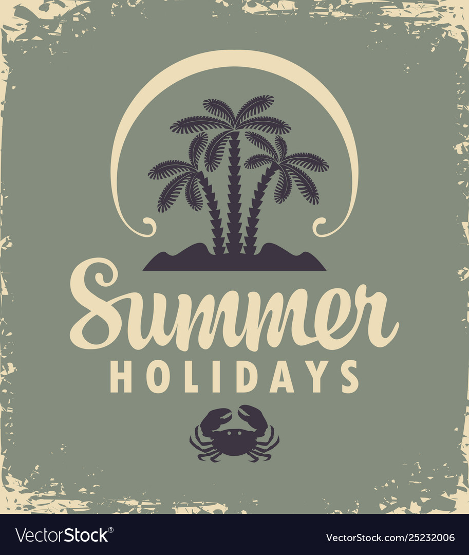 Summer tropical banner with palms and sun