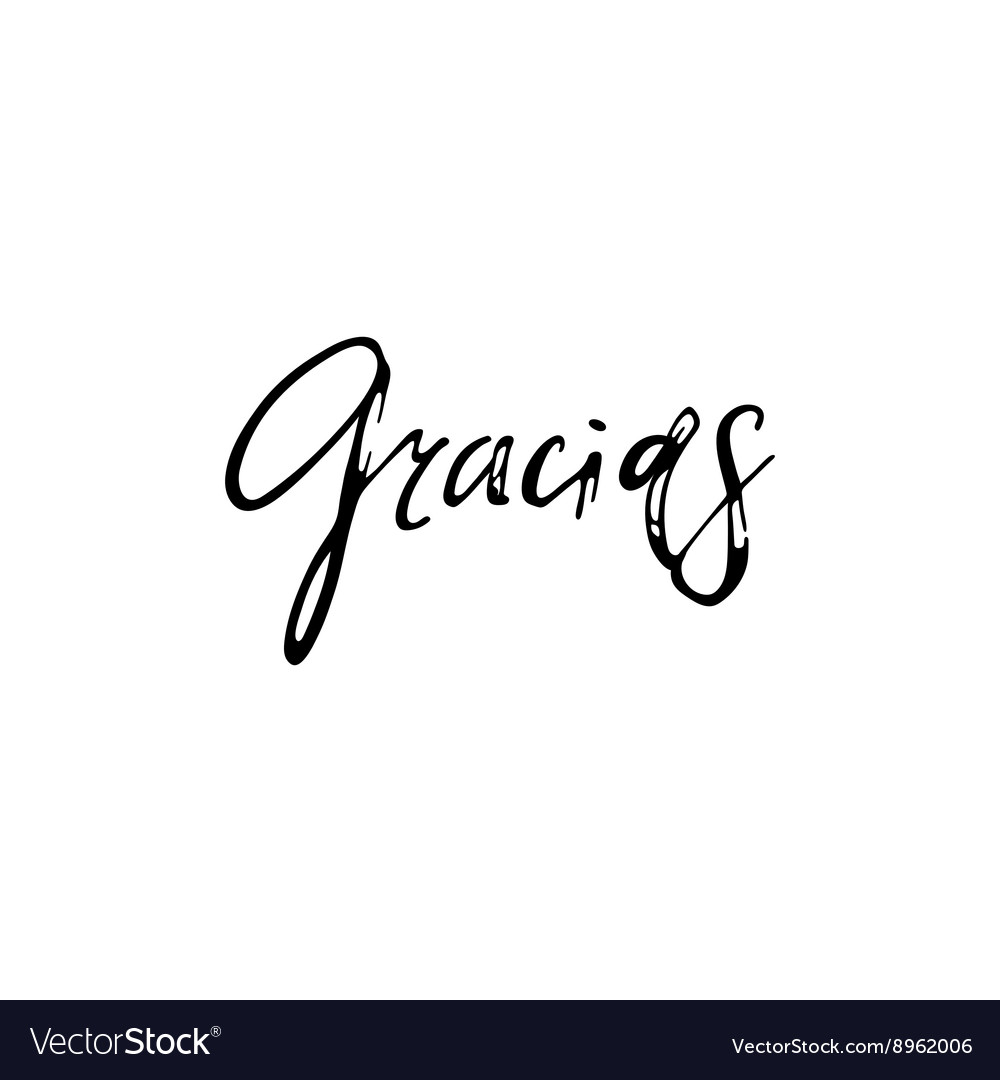Thank you Gracias Phrase in Spanish handmade vector image