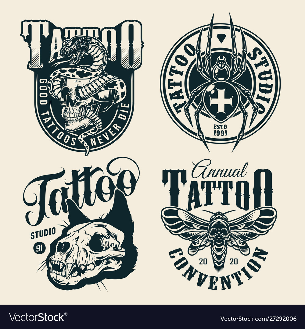 Vintage monochrome tattoo studio labels