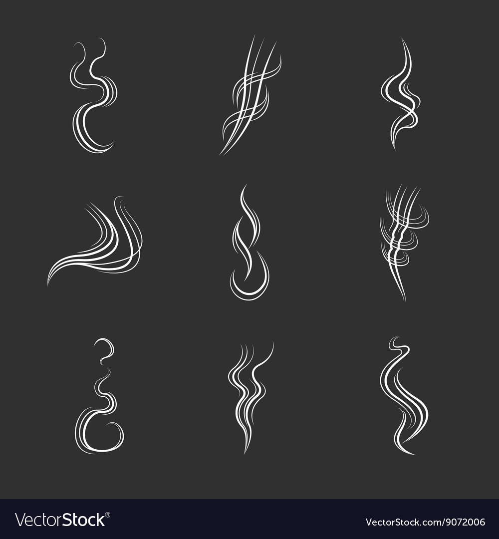 White smoke lines on black background set