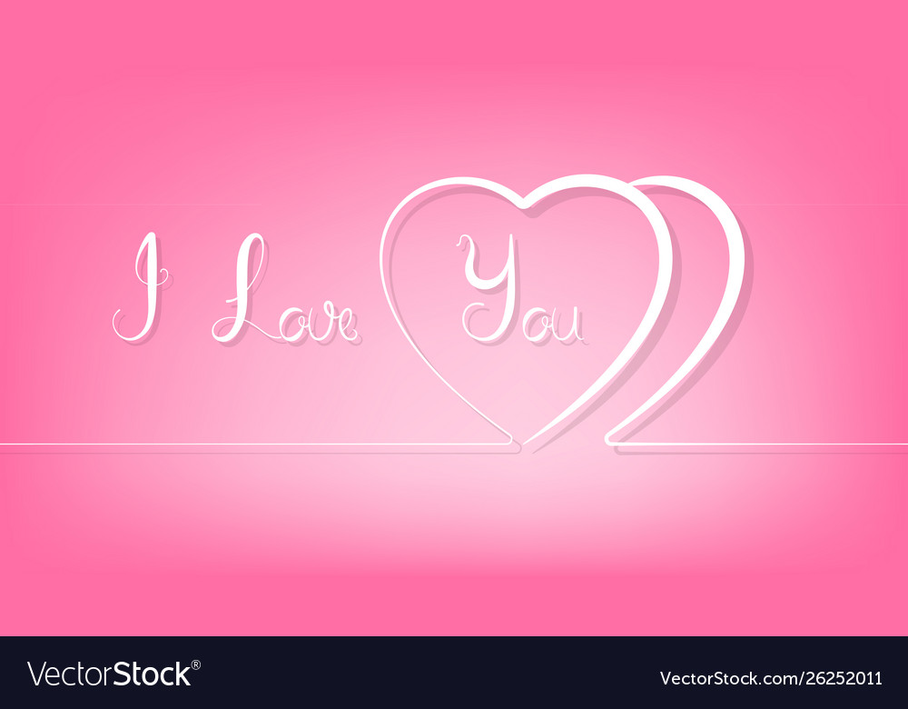 Abstract couple line heart on pink background