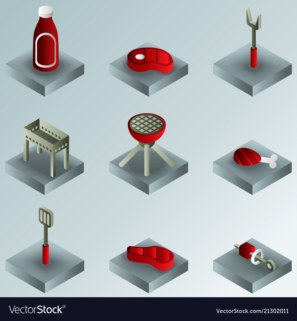Bbq color gradient isometric icons