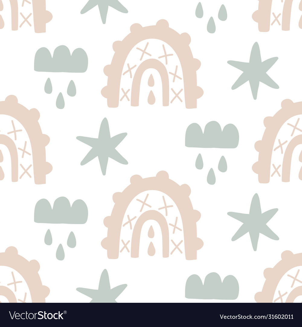 Cute rainbows hand drawn doodles seamless pattern