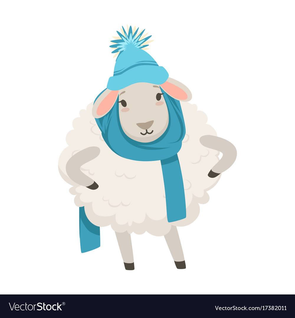 Cute white sheep character wearing blue knitted