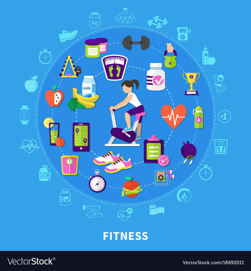 Fitness round flat composition