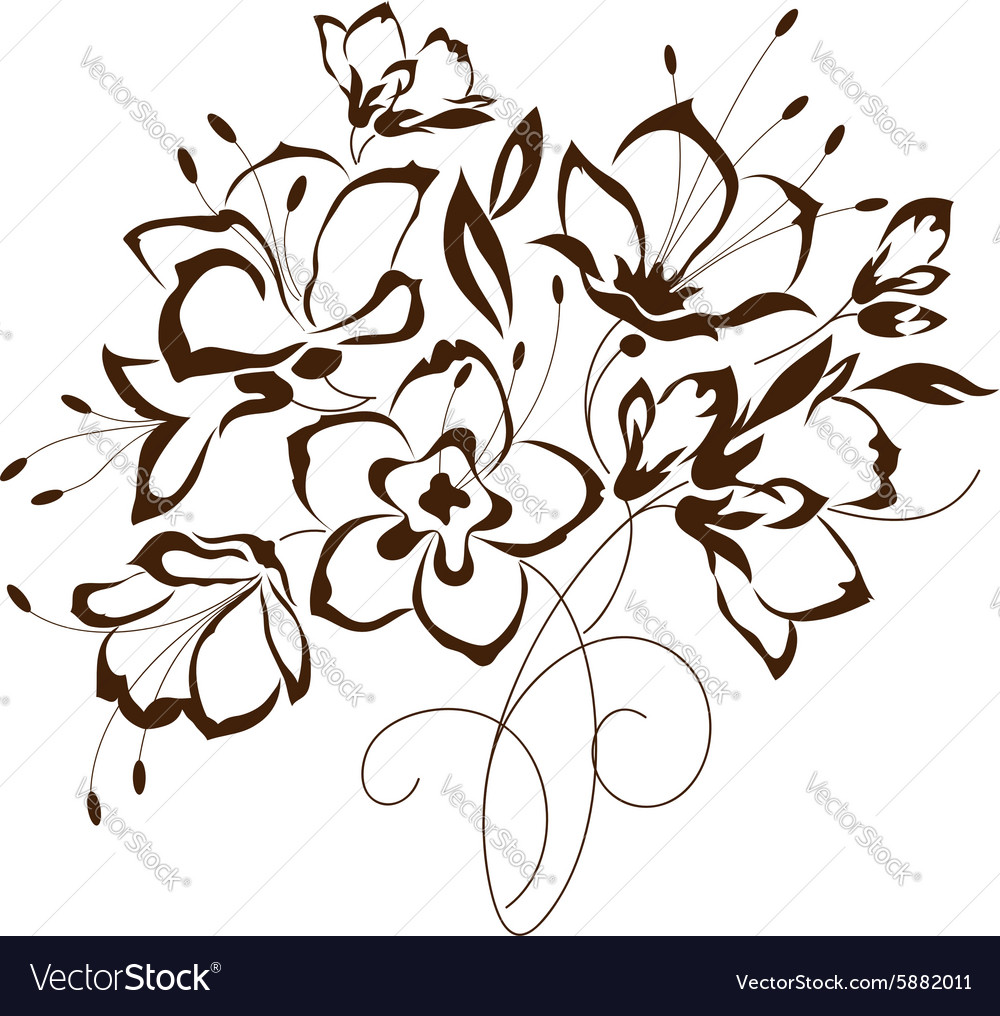Floral design bouquet of stylized flowers
