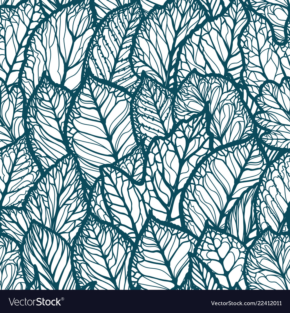 Floral pattern decorative leaves seamless