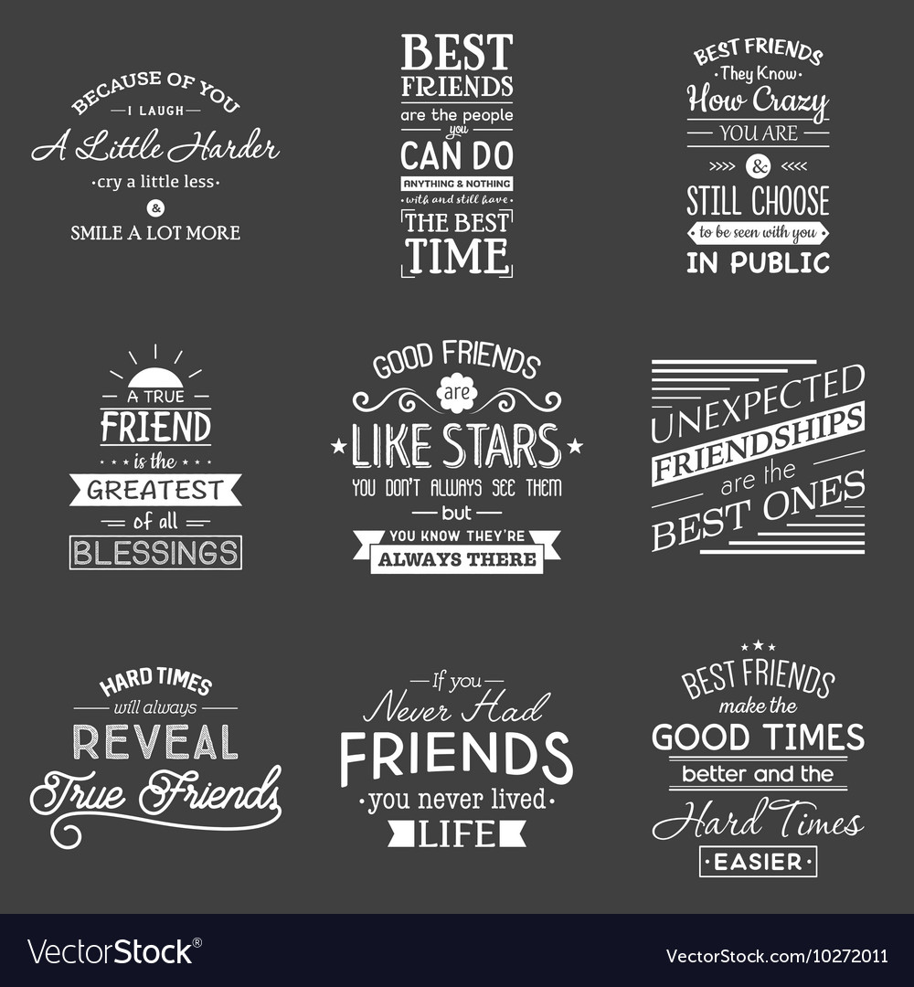 Friendship Typography Quotes Royalty Free Vector Image