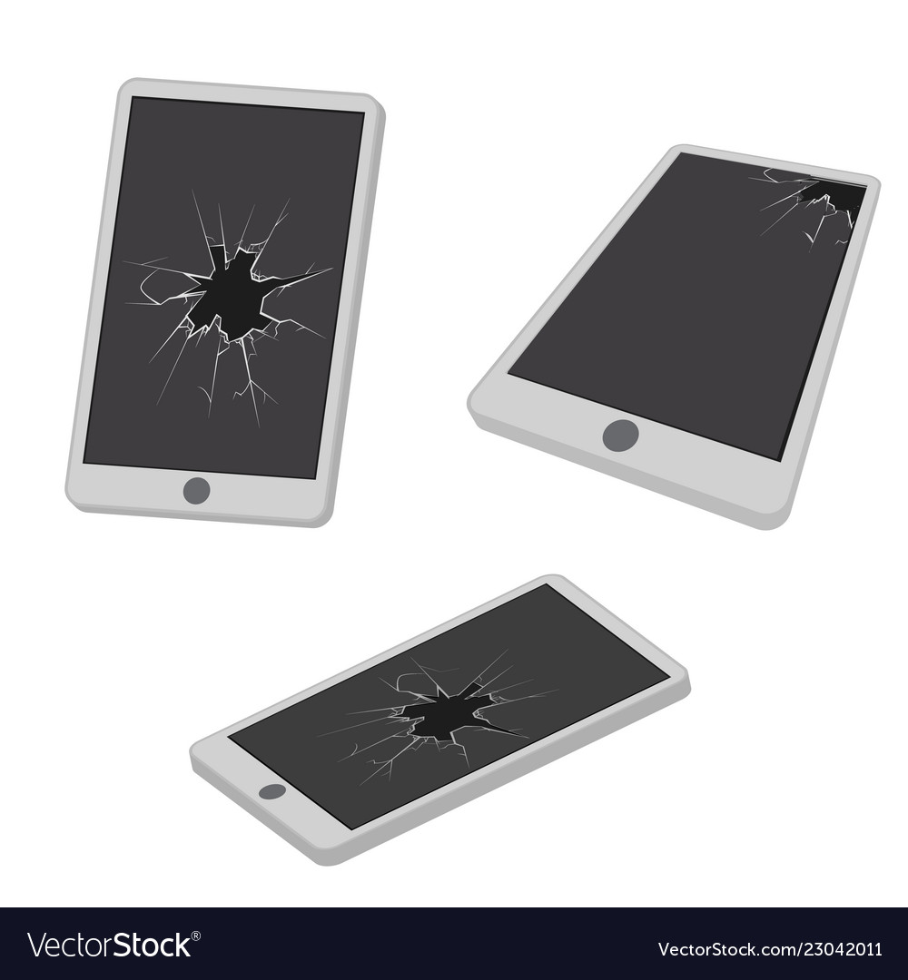 Glass hole cracks broken mobile phone electronic