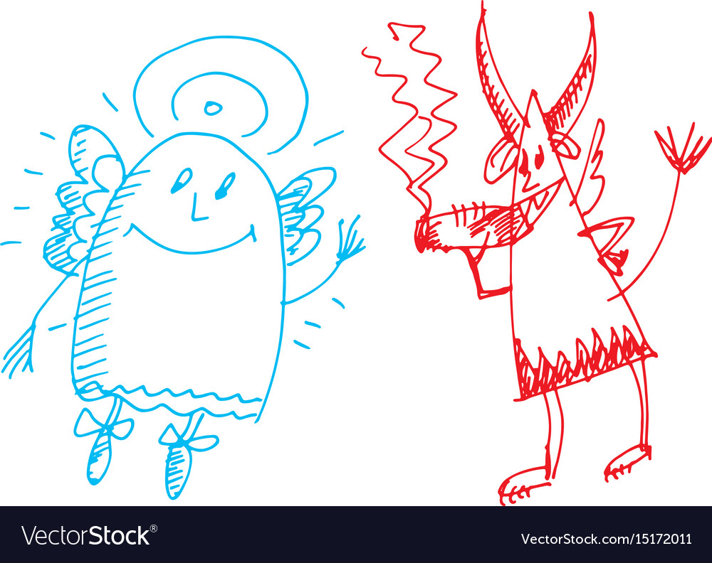 Hand drawn sketch of angel and devil vector image