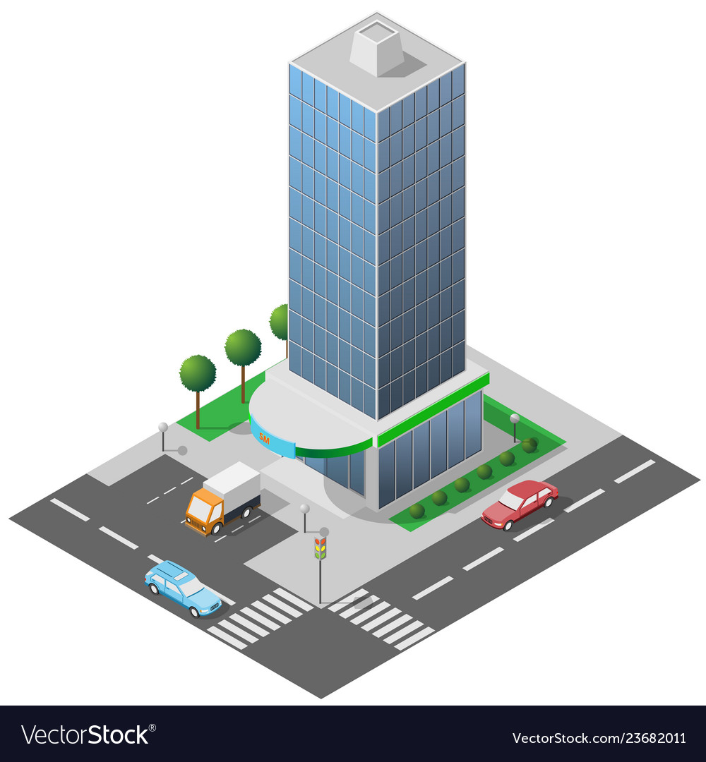 Isometric icon high glass building