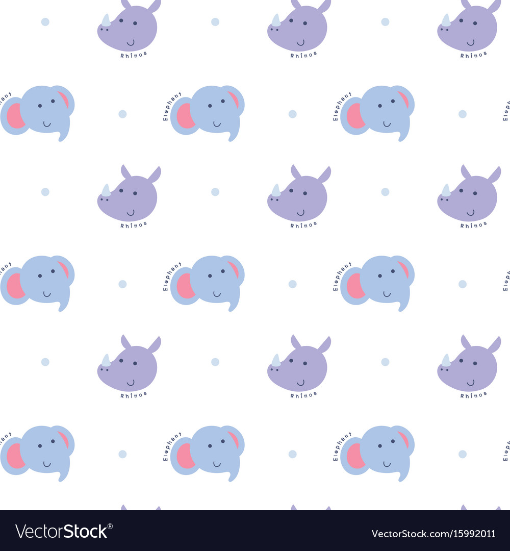 Seamless pattern with elephant and rhino